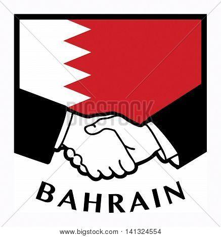 Bahrain flag and business handshake, vector illustration