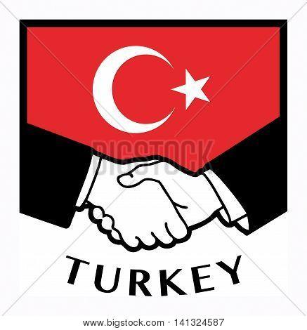Turkey flag and business handshake, vector illustration
