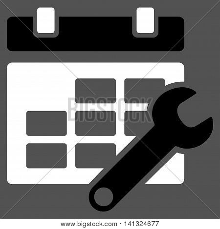 Timetable Adjustment vector icon. Style is bicolor flat symbol, black and white colors, rounded angles, gray background.
