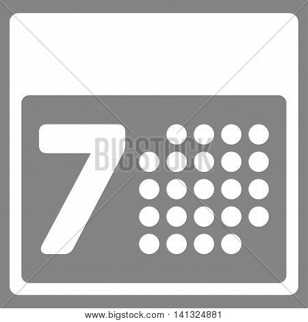 Binder Week vector icon. Style is flat symbol, white color, rounded angles, gray background.