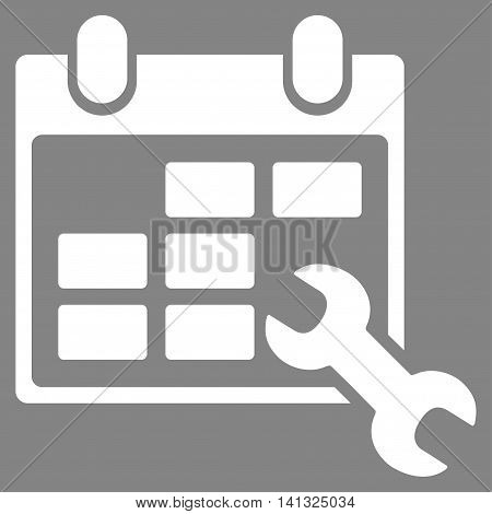 Configure Timetable vector icon. Style is flat symbol, white color, rounded angles, gray background.