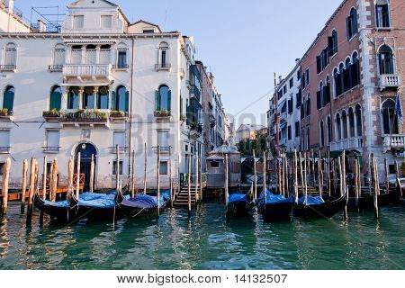 Gondola Boat Parking In Front Of Building In Grand Canal Venice Italy