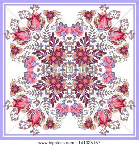 Colorful ornamental floral paisley shawl, bandanna, pillow, scarf. Square pattern. Detailed floral scarf design. Blue pink eastern ornament on white background. Batik