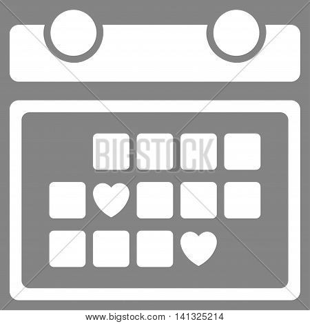 Favourite Days vector icon. Style is flat symbol, white color, rounded angles, gray background.