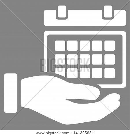 Service Timetable vector icon. Style is flat symbol, white color, rounded angles, gray background.