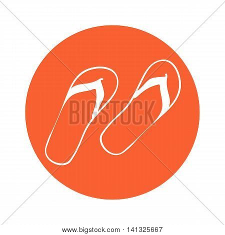 Summer icon. Flip-flop. Vector illustration. White flip-flops.