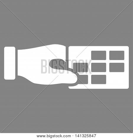 Timetable Properties vector icon. Style is flat symbol, white color, rounded angles, gray background.