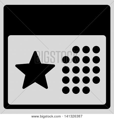 Holiday Binder vector icon. Style is flat symbol, black color, rounded angles, light gray background.