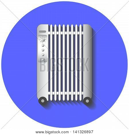Electric heater vector illustration on blue background. Flat style drawing of white radiator on wheels. Modern home appliance. House climate control device. Comfort technology.