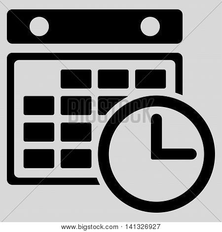 Timetable vector icon. Style is flat symbol, black color, rounded angles, light gray background.