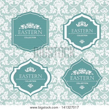 Vector vintage collection: Baroque and antique frames labels emblems and ornamental design elements on a victorian floral background