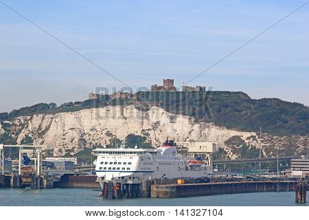 Passenger Ferry berthed in Dover harbour, England