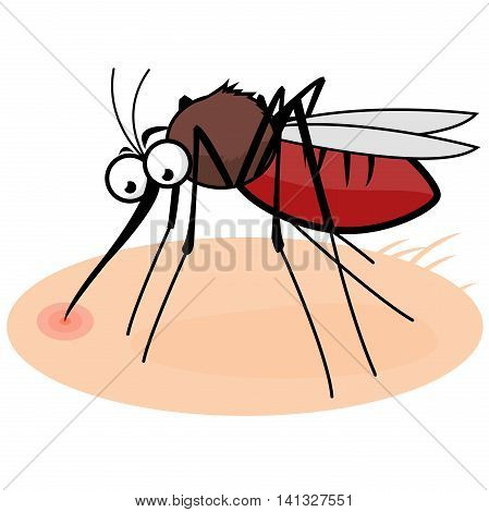 A cartoon mosquito on human skin sucking blood