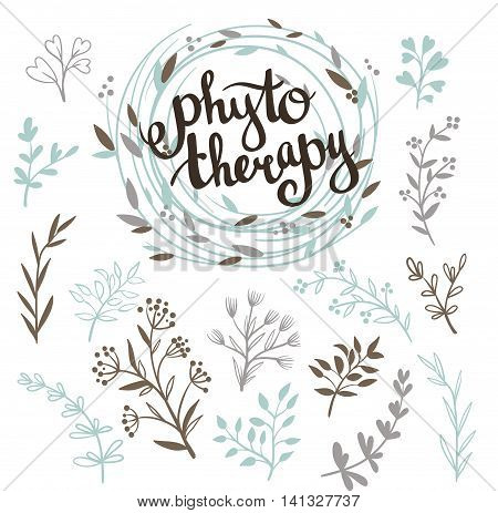 Phytotherapy background. Stylish lettering in the wreath and set of herbs .Natural vector collection with leaves.