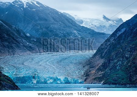 Mendenhall Glacier as viewed across the bay near Juneau Alaska