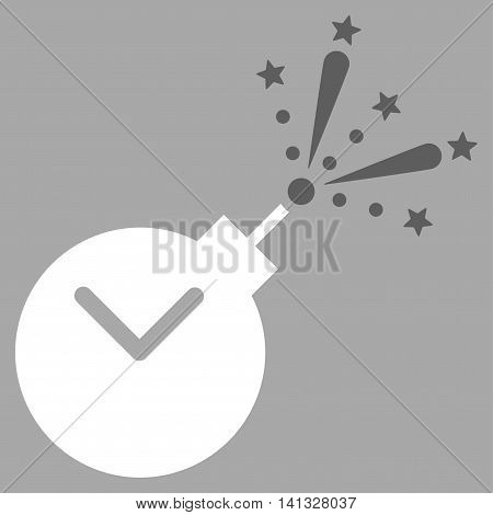 Time Fireworks Charge vector icon. Style is bicolor flat symbol, dark gray and white colors, rounded angles, silver background.
