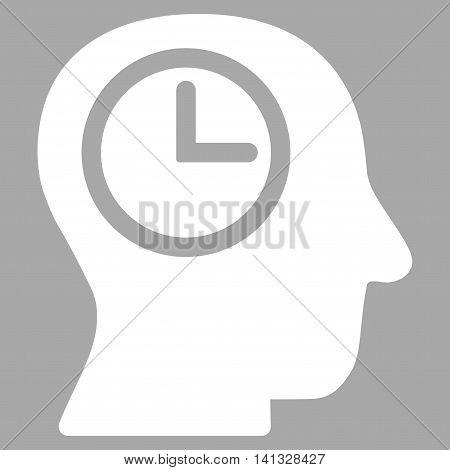 Time Manager vector icon. Style is flat symbol, white color, rounded angles, silver background.