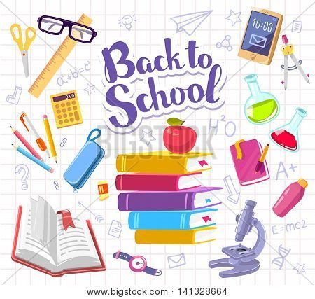 Vector colorful illustration with many school supplies on background of white sheet of school notebook into a cell with text back to school. Bright design for web site advertising banner poster brochure board