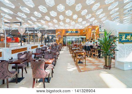 SHENZHEN, CHINA - MAY 11, 2016: inside of Shenzhen Bao'an International Airport. It is located near Huangtian and Fuyong villages in Bao'an District, Shenzhen, Guangdong, China.
