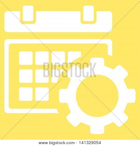 Schedule Preferences vector icon. Style is flat symbol, white color, rounded angles, yellow background.