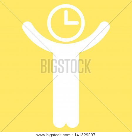 Time Manager vector icon. Style is flat symbol, white color, rounded angles, yellow background.