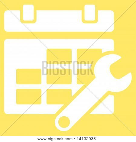 Timetable Adjustment vector icon. Style is flat symbol, white color, rounded angles, yellow background.