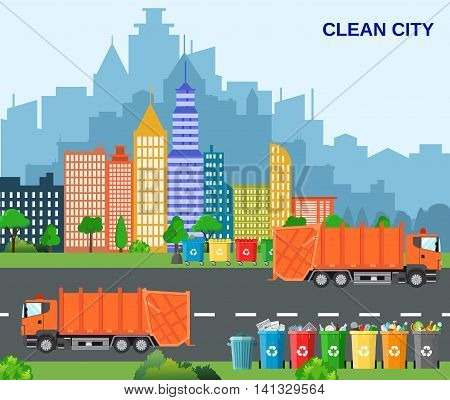 City waste recycling concept with garbage truck. concept waste disposal and types sorting management. concept clean city. Vector illustration in flat design