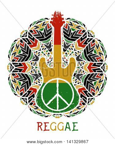 Peace symbol and guitar on ornate mandala background. Jamaica theme. Design concept in reggae colors for banner, card, t-shirt, bag, print, poster. Vector illustration