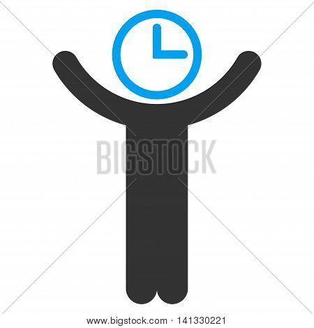 Time Manager vector icon. Style is bicolor flat symbol, blue and gray colors, rounded angles, white background.
