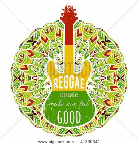 Typography poster with guitar on ornate mandala background. Reggae music make me feel good. Jamaica theme. Design concept in reggae colors for banner, card, t-shirt, print, poster. Vector illustration