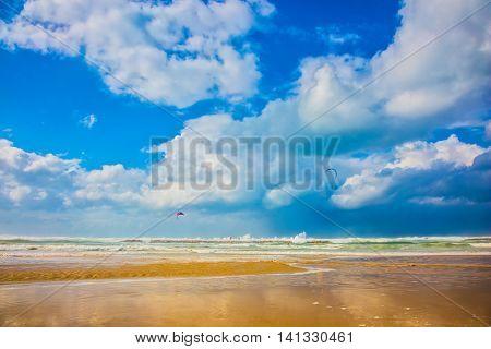 Storm on the Mediterranean Sea. The huge sea beach in Tel Aviv in January