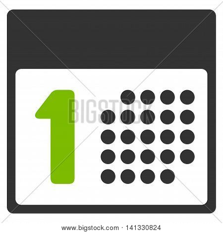 First Date vector icon. Style is bicolor flat symbol, eco green and gray colors, rounded angles, white background.