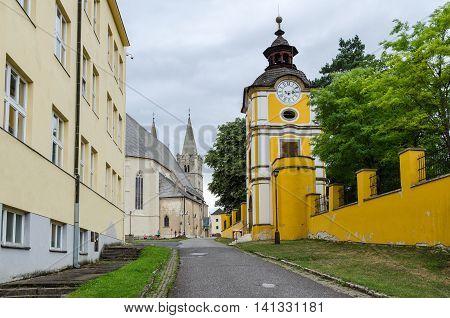 SPISSKA KAPITULA SLOVAKIA - AUGUST 18 2015: Way to the St. Martin's Cathedral in Spisska Kapitula Slovakia.