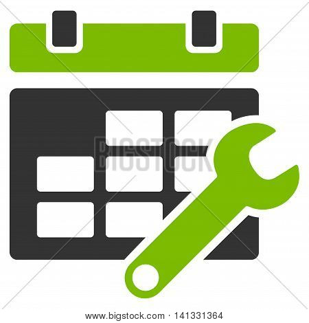 Timetable Adjustment vector icon. Style is bicolor flat symbol, eco green and gray colors, rounded angles, white background.
