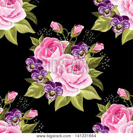 Seamless floral pattern with pink roses and violet pansies on black background.