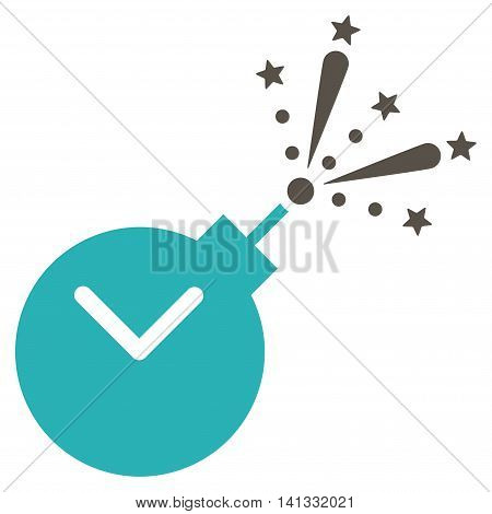 Time Fireworks Charge vector icon. Style is bicolor flat symbol, grey and cyan colors, rounded angles, white background.