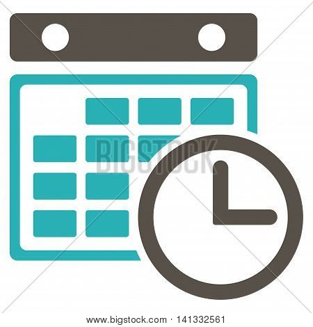 Timetable vector icon. Style is bicolor flat symbol, grey and cyan colors, rounded angles, white background.