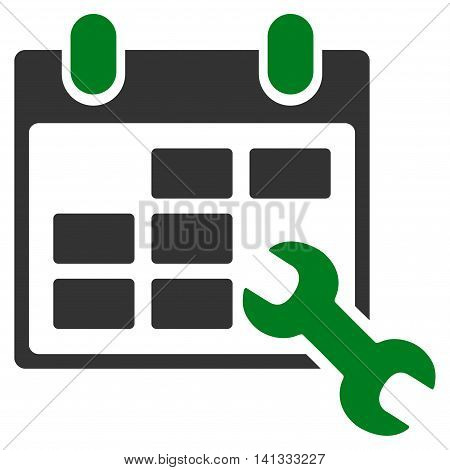 Configure Timetable vector icon. Style is bicolor flat symbol, green and gray colors, rounded angles, white background.