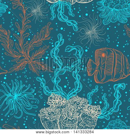 Seamless pattern with marine plants, leaves, seaweed and tropical fish. Hand drawn marine flora and fauna. Vector illustration .