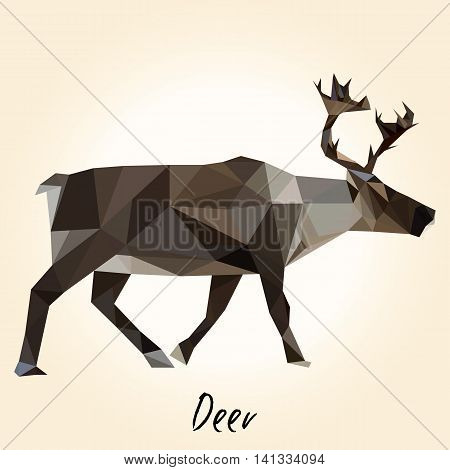Low poly deer. Polygonal deer. Polar mammal.