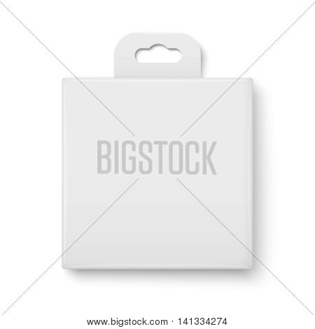 White cardboard packaging box with hanging hole. Product packaging collection. Square form. Vector illustration.