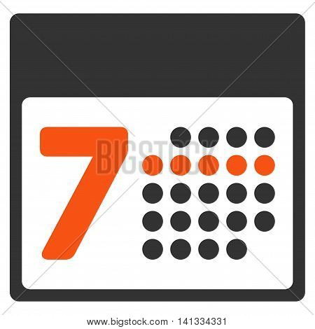 Organizer Week vector icon. Style is bicolor flat symbol, orange and gray colors, rounded angles, white background.