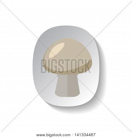 Mushroom vector icon in flat style with shadow. Vegetable pictogram. Mushroom illustration on white. Mushroom isolated. Mushroom cook ingredient. Healthy vegetarian food. Mushroom logo patch