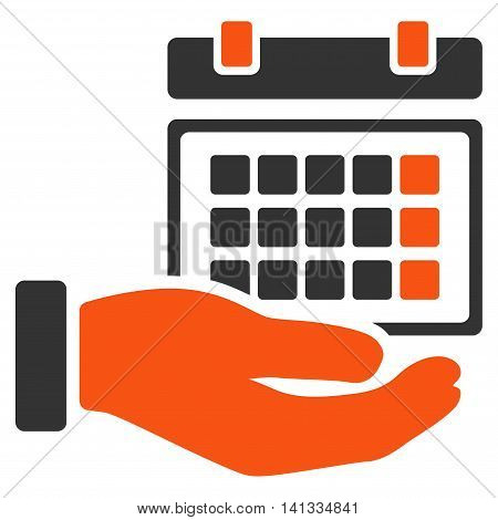 Service Timetable vector icon. Style is bicolor flat symbol, orange and gray colors, rounded angles, white background.