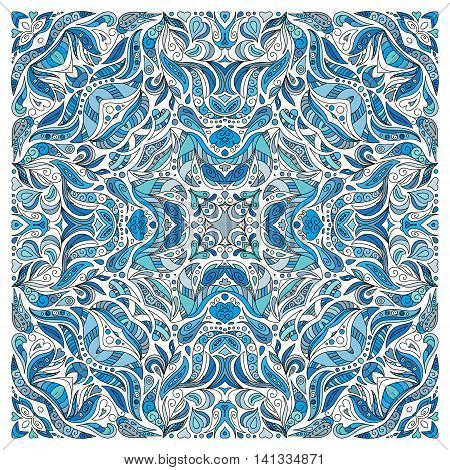 Hand drawn floral pattern. Wrapping decoration print. Square neck. Vector doodlle ornament. Ornamental background for textile, wrapping, bandanna. Blue.