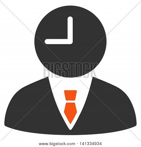 Time Manager vector icon. Style is bicolor flat symbol, orange and gray colors, rounded angles, white background.