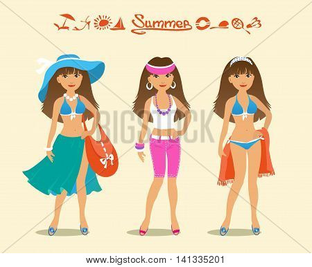 Cartoon illustration of beautiful girl and options beachwear. Inscription summer. Icons summer.