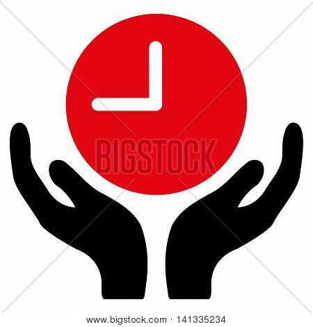 Clock Care vector icon. Style is bicolor flat symbol, intensive red and black colors, rounded angles, white background.