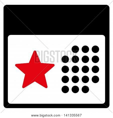 Holiday Binder vector icon. Style is bicolor flat symbol, intensive red and black colors, rounded angles, white background.