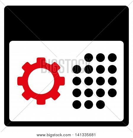 Service Organizer vector icon. Style is bicolor flat symbol, intensive red and black colors, rounded angles, white background.